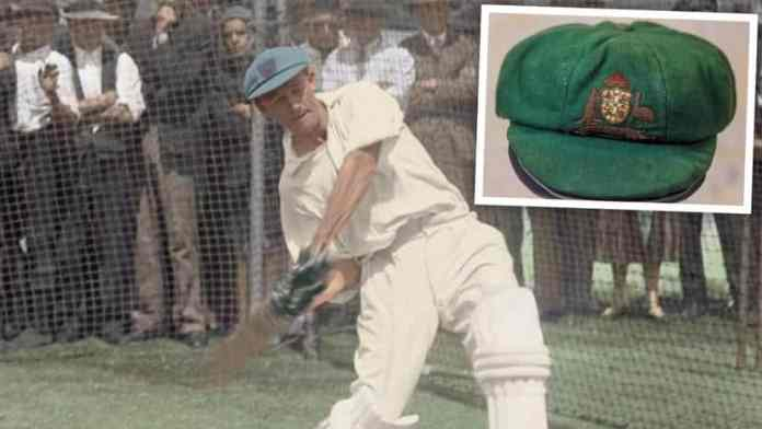 Don Bradman in the WACA nets practising his batting, circa 1932. Inset: Bradman's baggy green cap. (https://thewest.com.au/)