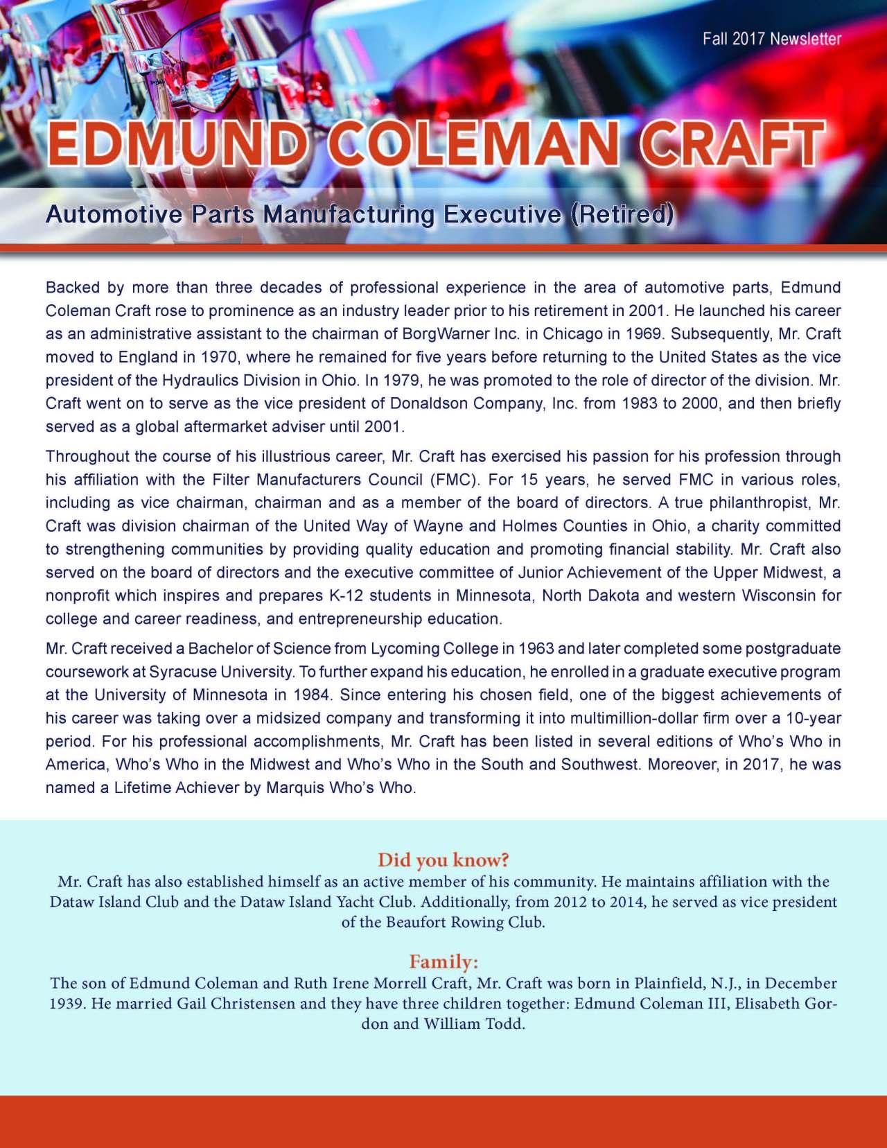 Craft, Edmund 3629011_6490379 Newsletter