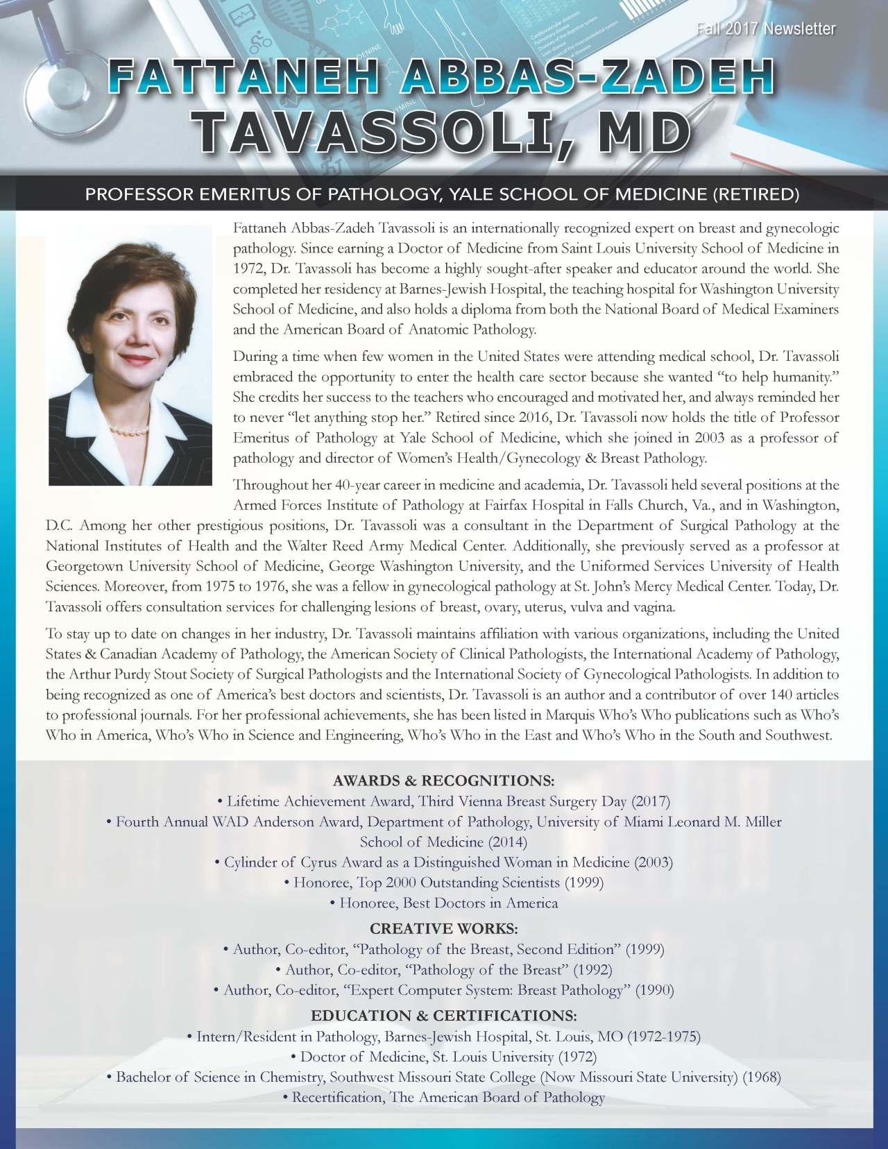 Tavassoli, Fattaneh 3663337_24205065 Newsletter