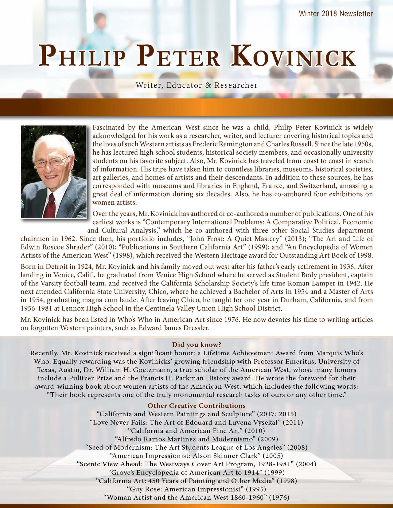 Kovinick, Philip 2138874_27937796 Newsletter REVISED