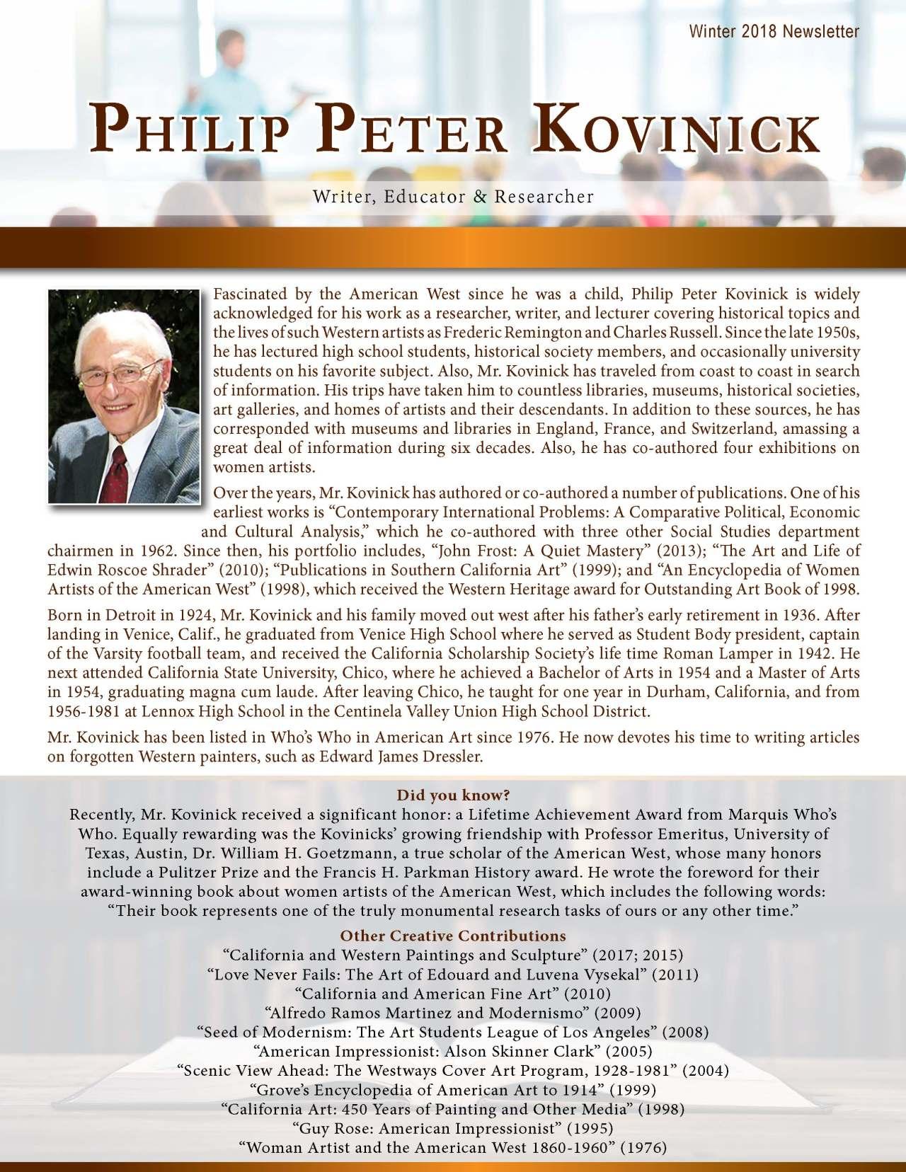 Kovinick, Philip 2138874_27937796 Newsletter REVISED