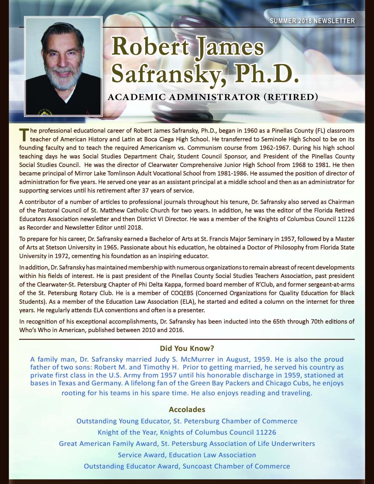 Safransky, Robert 3711956_35057874 Newsletter REVISED