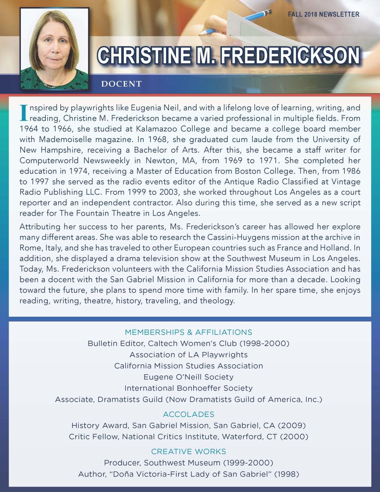 Frederickson, Christine 2163454_31447425 Newsletter