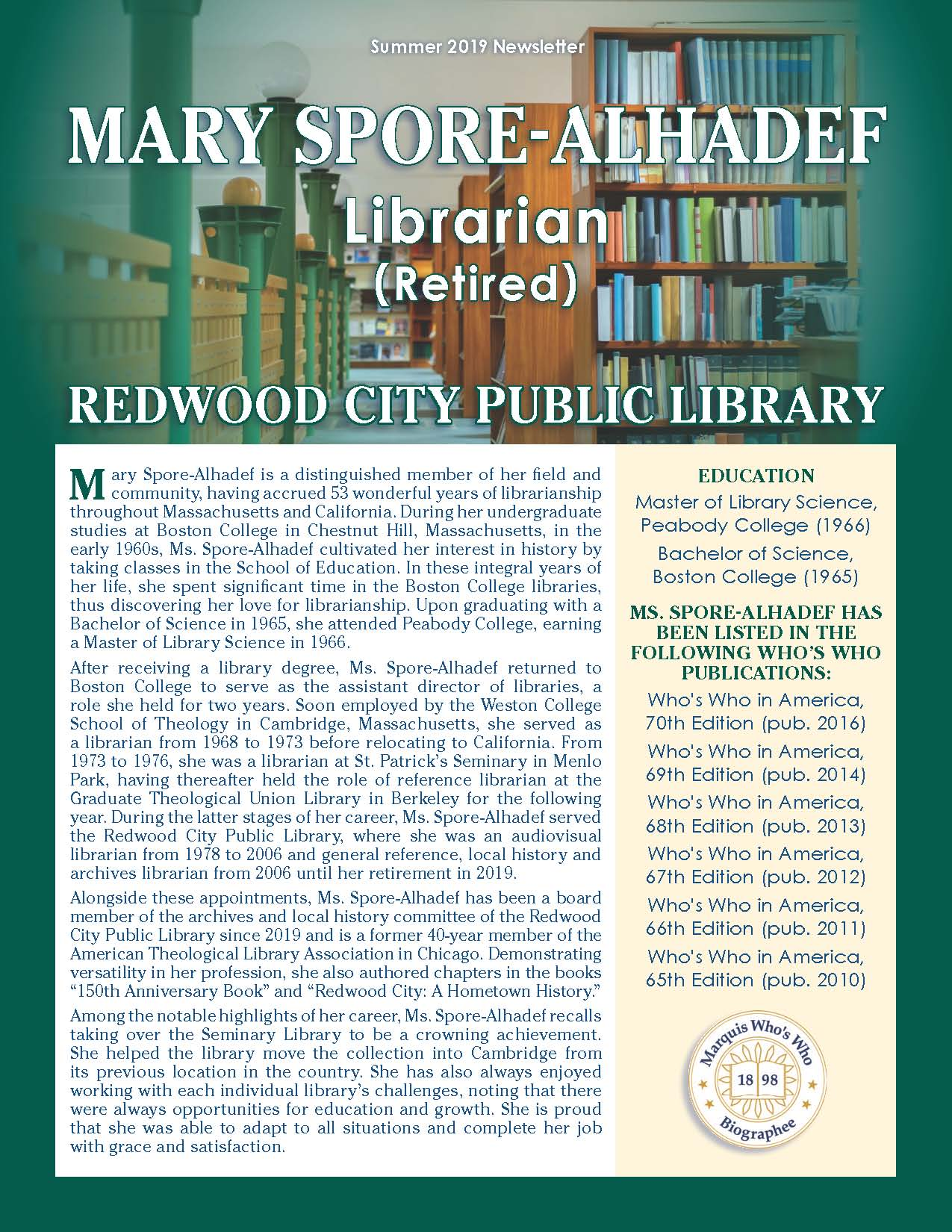 Spore-Alhadef, Mary 3632422_35093289 Newsletter