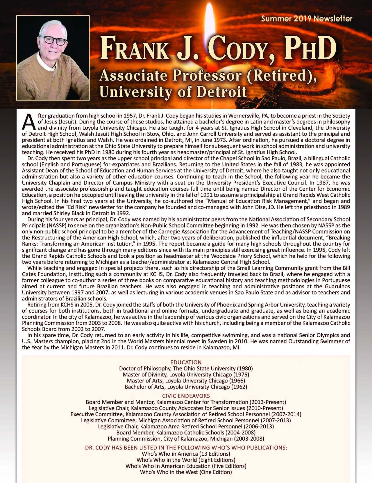 Cody, Frank 4113241_19777267 Newsletter REVISED