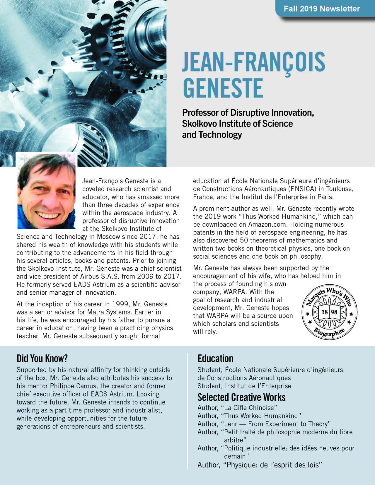 Geneste, Jean-Francois 3679577_4003679577 Newsletter
