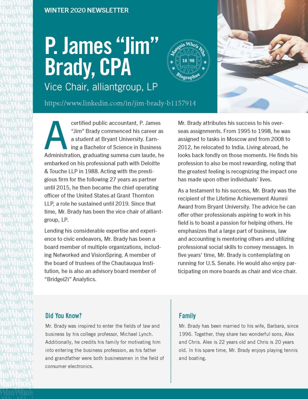 Brady, P. James 4298232_4004298232 Newsletter