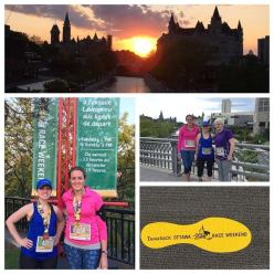 Savannah and Kelly Mcnaughton (with Cortney Kirkby in purple shirt) at the Ottawa 10k
