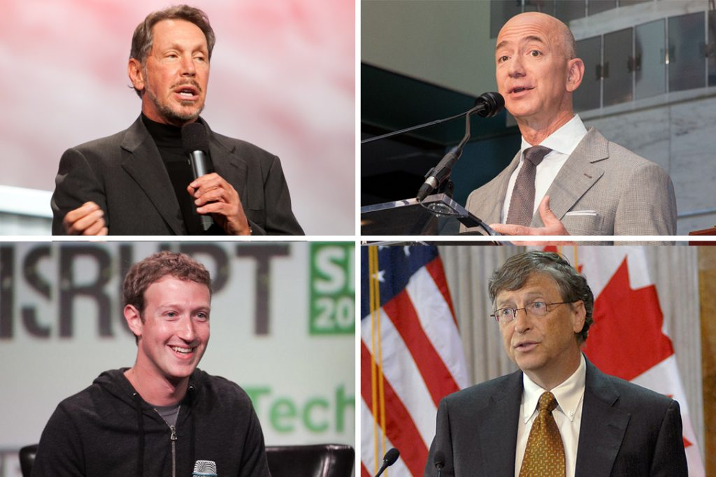 Larry Ellison, Jeff Bezos, Mark Zuckerberg, Bill Gates