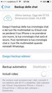 impostazioni backup whatsapp iphone