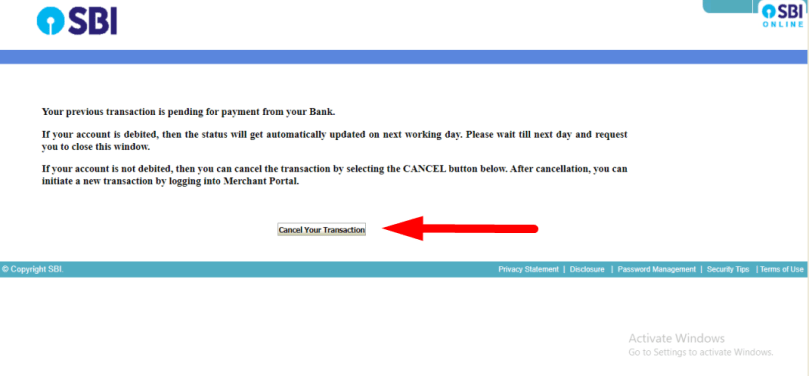 Image A payment has already been initiated for the same reference number. Your request cannot be processed.