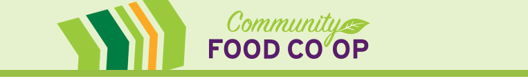 Community Food Coop Logo links to registration page on the Co-op's website.