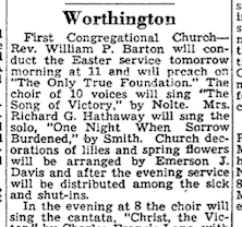 Notice of Emmy's church decorations in The Berkshire Eagle, April 5, 1947.