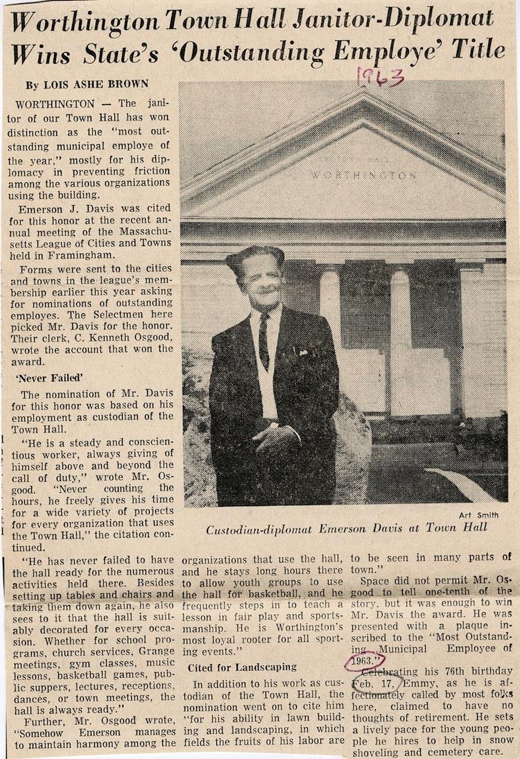 1963 profile of Emerson Davis in the Daily Hampshire Gazette.