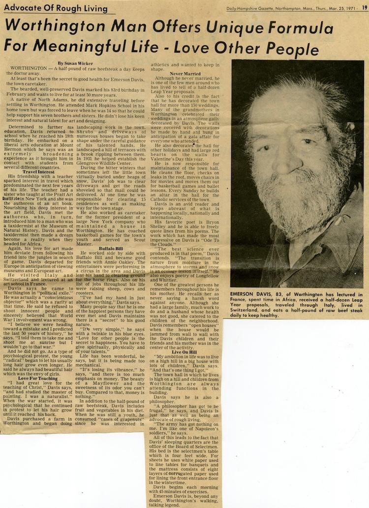 Profile of Emerson Davis in the Daily Hampshire Gazette, March 25, 1971.