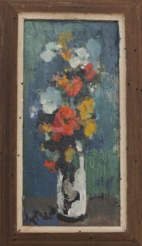 """Flowers in a Wormwood Frame, 5"""" x 11"""""""