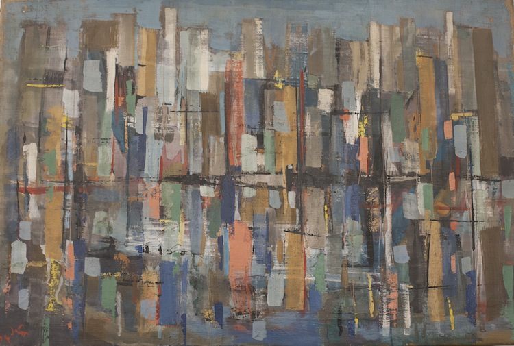 """New York with Reflection in the East River, 30"""" x 20"""""""