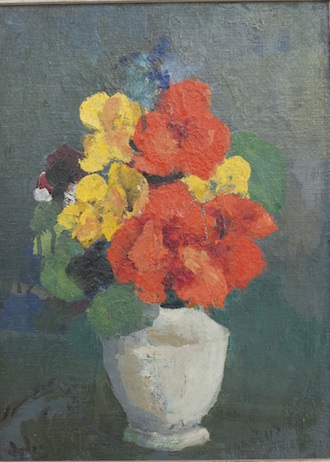 """Renee's Flowers in a White Vase, 9"""" x 12"""""""