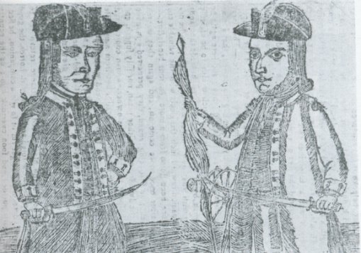 Woodcut of Daniel Shays (left) and another rebel leader, Job Shattuck (right).