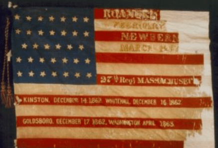 Battle flag of the 27th Mass. Regiment.