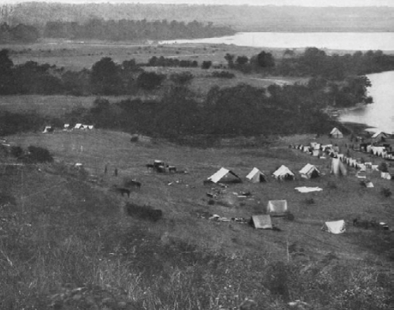 Camp of the 2nd Mass. HA, Petersburg, VA, 1864.