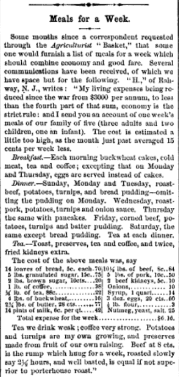 This 1863 article from the American Agriculturalist shows how a family of four could live on $6.16 per week.