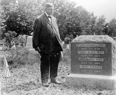 Russell H. Conwell at the gravestone of John Quincy Ring, 1921.
