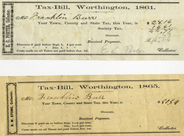 Franklin Burr's tax bills from 1861 and 1865 show the impact of increased tax rates.