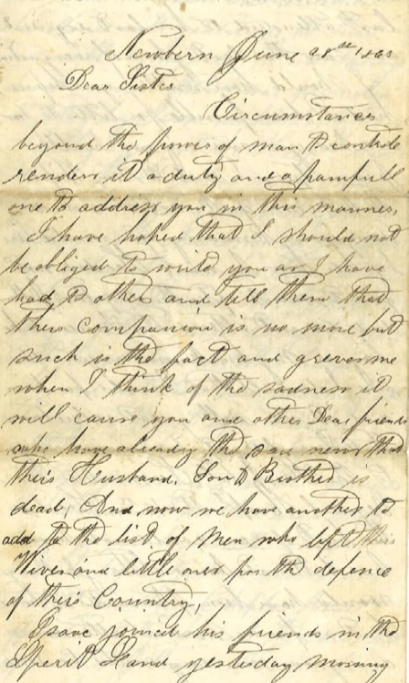 First page of Austin Hancock's letter.