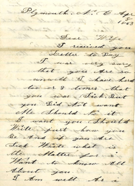 Isaac Drake's letter to his wife, Lydia, first page.