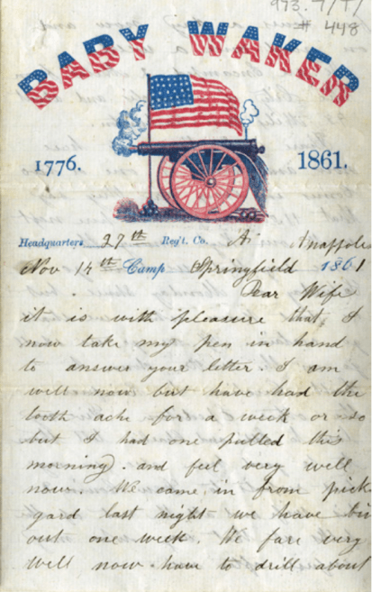 First page of James Thayer's 1861 letter to his wife.