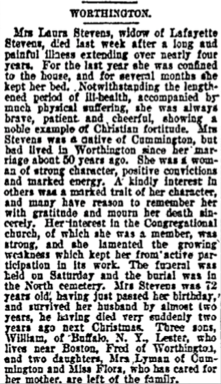 Death notice for Laura Stevens, Lafayette's widow, Springfield Republican, November 25, 1897.