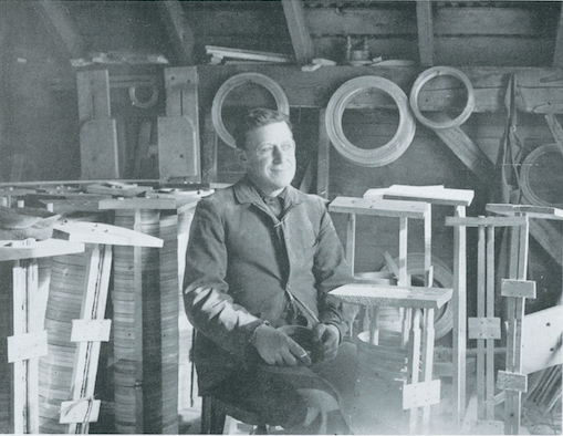 Eugene Stevens working on banjo hoops at the Stevens Mill.