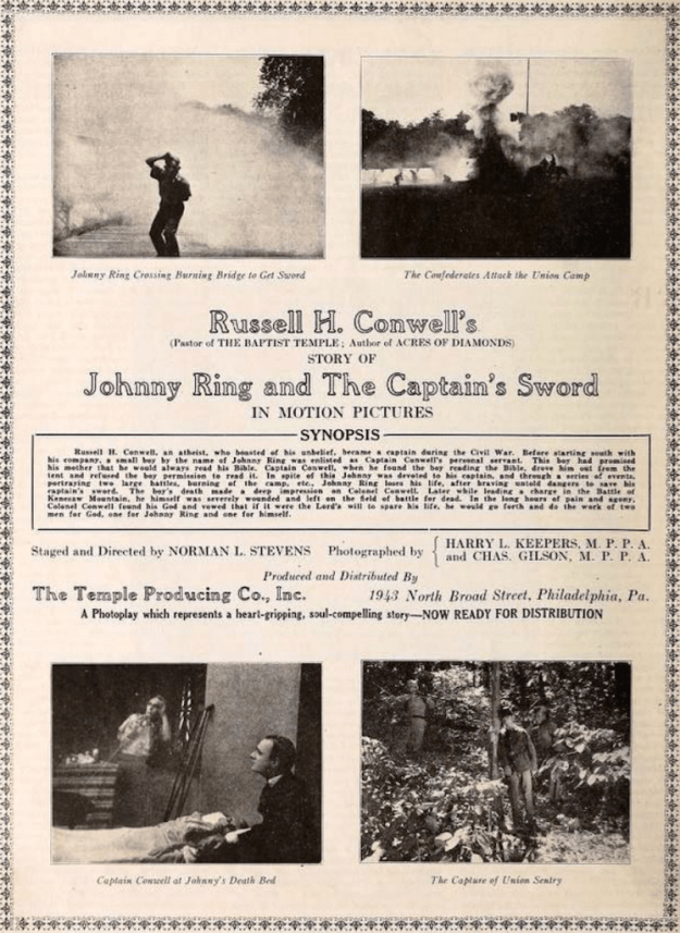 Promotional poster for Johnny Ring and The Captain's Sword (1921).