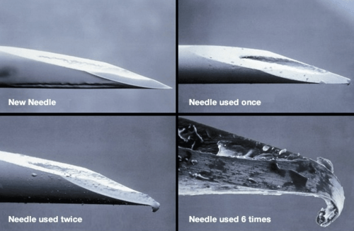 This image shows how a needle degrades after repeated use.