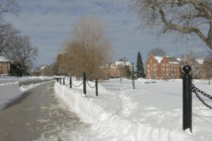 Paths across campus remain uncleared. (Photo by Charlie Smart)