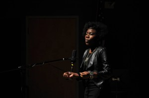 Kendra Thomas performs a poetic vignette during the ceremony.  Photo by Santiago Pelaez (WHUS)