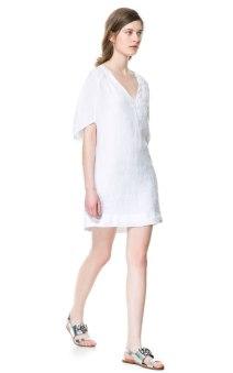 Linen V Neck Dress Zara