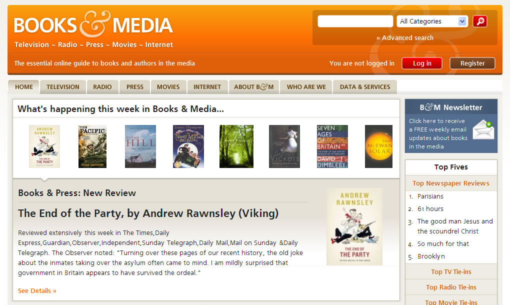 Books & Media website home page