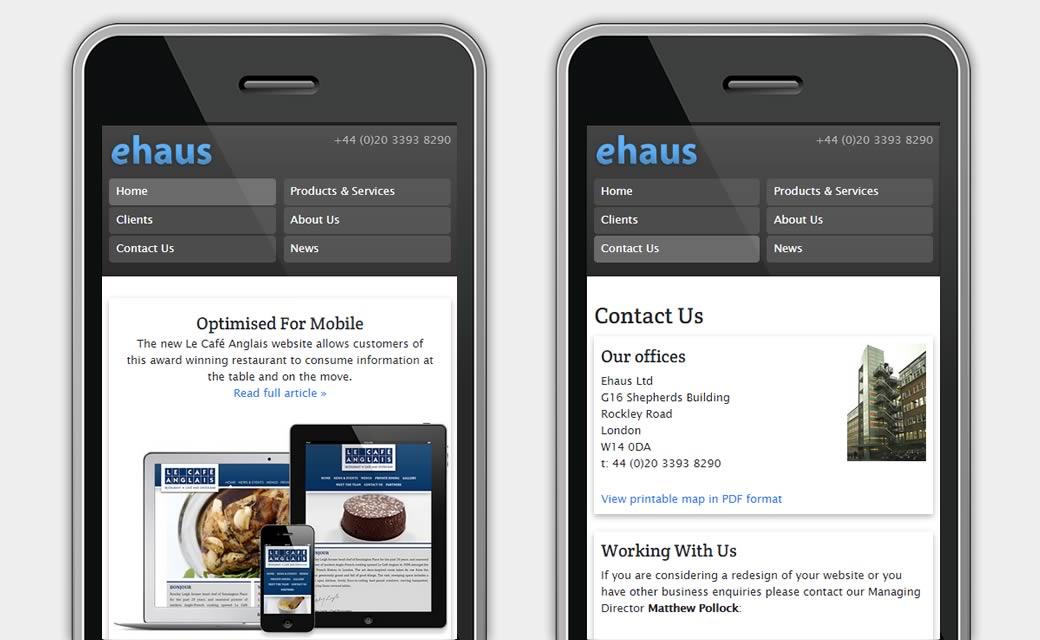 Ehaus website on mobile