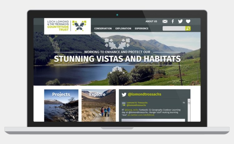 Web design mock up for Loch Lomond & The Trossachs Countryside Park