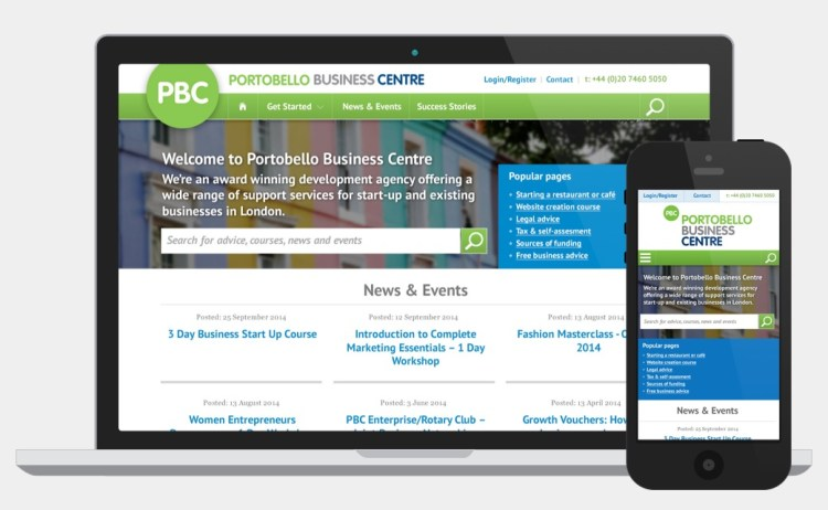 Portobello Business Centre website design