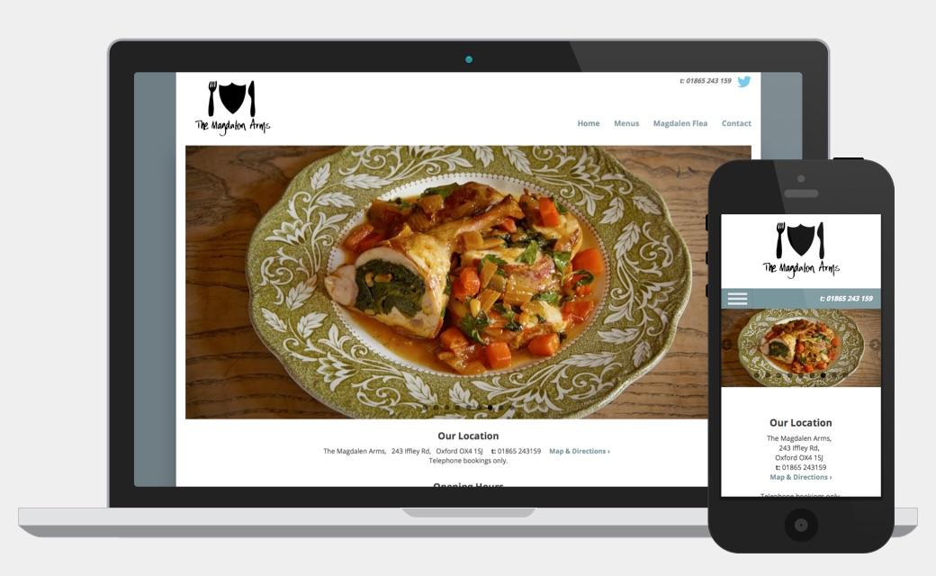 Magdalen Arms responsive website