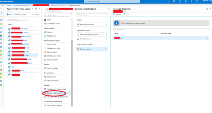 How to unregister the azure storage account from the