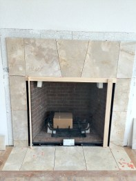 Custom designed keystone layout for living room fireplace