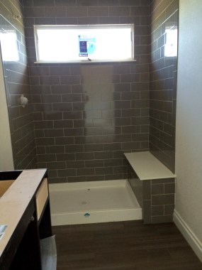 Bathroom #2 with gray shower tile