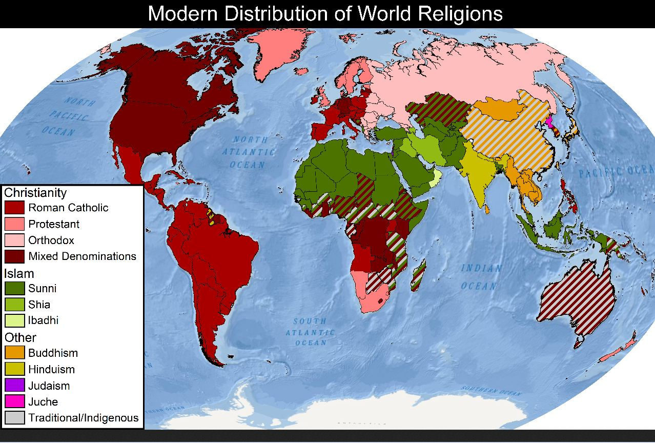 Modern Distribution Of World Religions Why Evolution Is True
