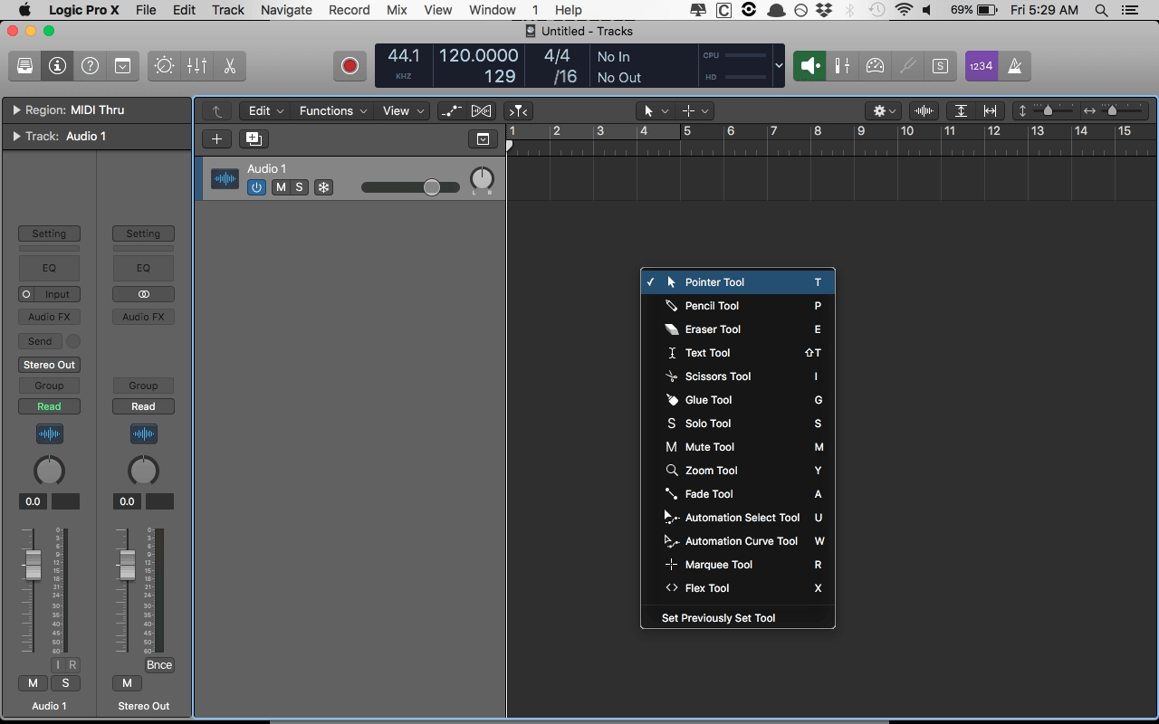Logic Pro X Tools Key Command