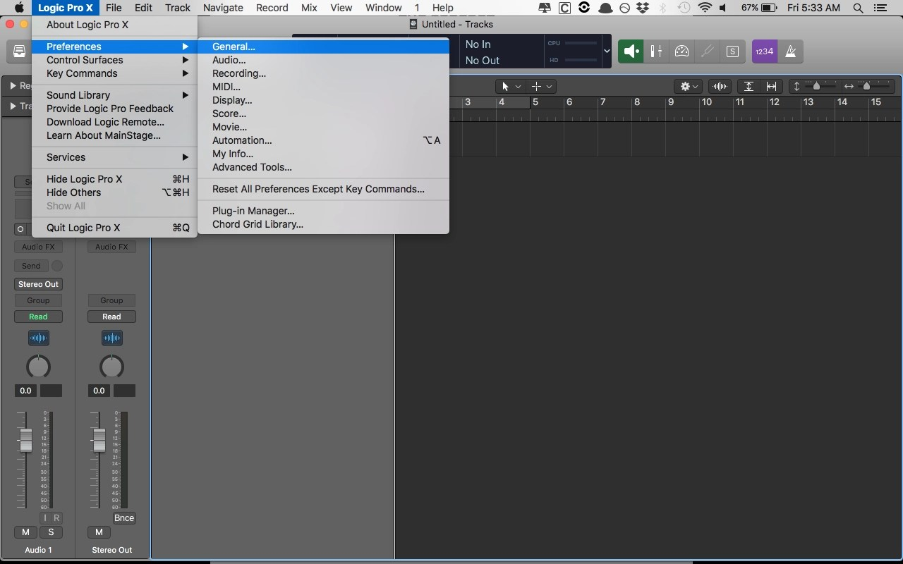 Logic Pro X General Preferences