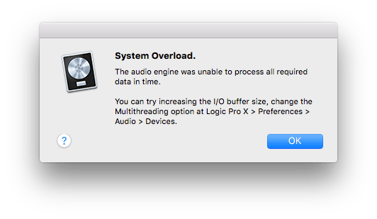 Logic Pro X System Overload Message
